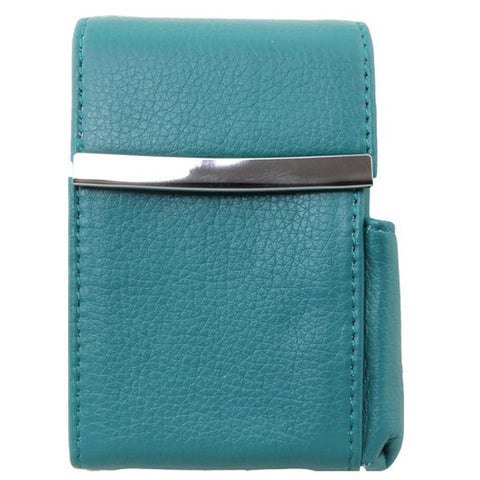 Genuine Leather Turquoise Fliptop Cigarette Case - WholesaleLeatherSupplier.com
