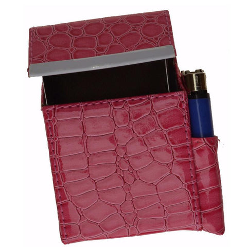 Unisex Croco-Textured Genuine Leather Flip-Top Cigarette Case