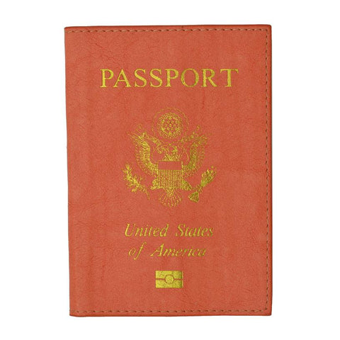Leather USA Logo Passport Holder - Peach - WholesaleLeatherSupplier.com  - 1