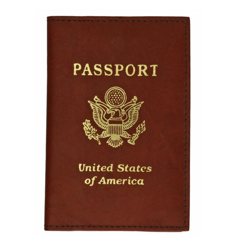 Vegan Leather USA Logo Passport Holder - Brown - WholesaleLeatherSupplier.com  - 1