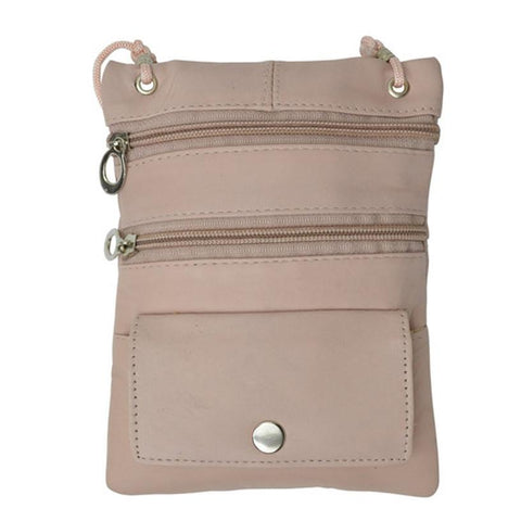 Genuine Leather Multi-Pocket Crossbody Purse Bag - Beige - WholesaleLeatherSupplier.com