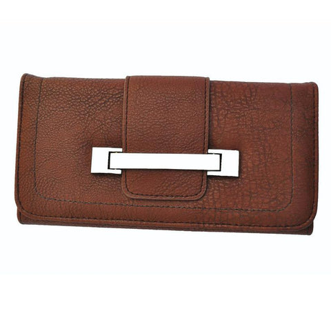 Metallic Flap Soft Bend Leather Wallet - Brown Color - WholesaleLeatherSupplier.com  - 1