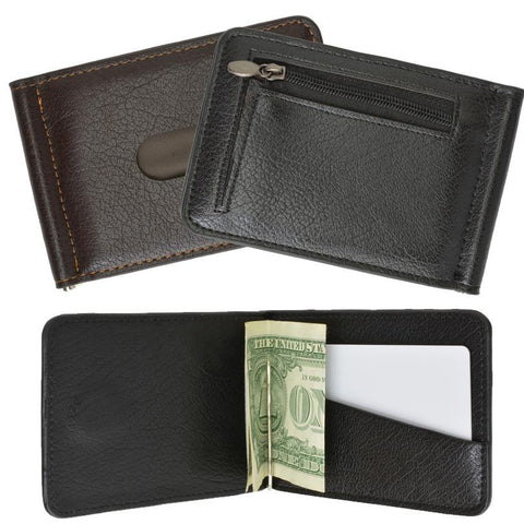 Men's Genuine Leather Bi-Fold Money Clip Wallet - WholesaleLeatherSupplier.com  - 1