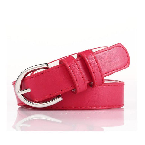 Ladies Bonded Leather Belt Top Stitch Rounded Buckle Espresso Color - WholesaleLeatherSupplier.com  - 5