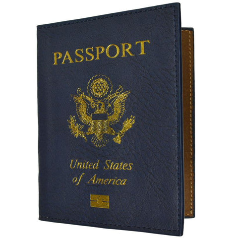 Leather USA Logo Passport Holder - Navy Blue - WholesaleLeatherSupplier.com  - 1