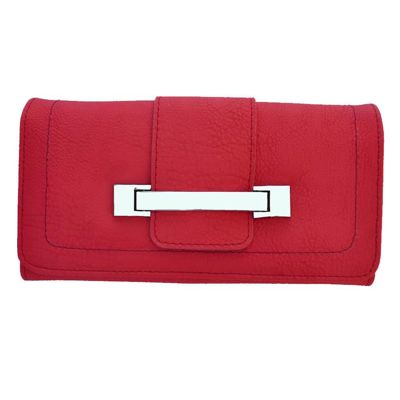 Metallic Flap Soft Bonded Leather Wallet - Red Color - WholesaleLeatherSupplier.com  - 1