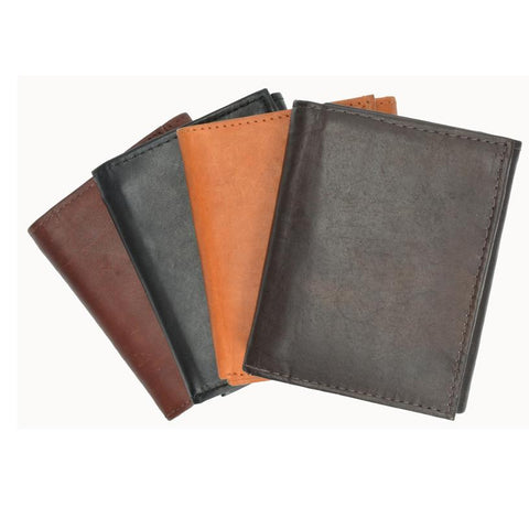 RFID Men's Trifold Leather Wallet RFID Blocking - WholesaleLeatherSupplier.com  - 1