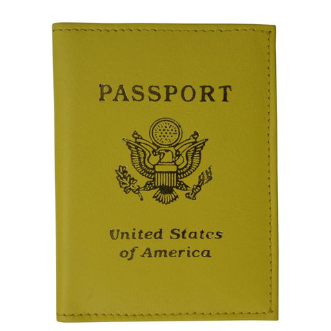 Vegan Leather USA Logo Passport Holder - Yellow - WholesaleLeatherSupplier.com  - 1