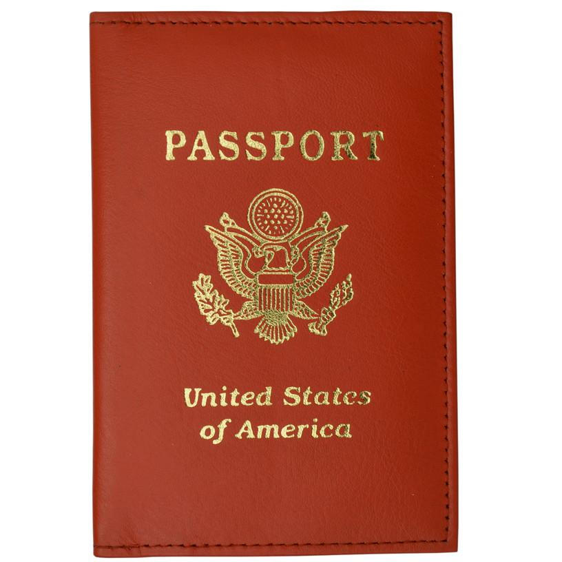 Vegan Leather USA Logo Passport Holder - Orange - WholesaleLeatherSupplier.com  - 1