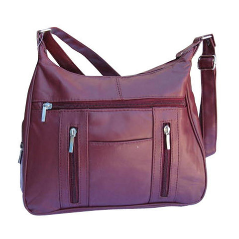 Super-Soft Genuine Lambskin Leather Purse - Burgundy Color