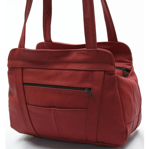 3 Compartments Tote Leather Bag - Red