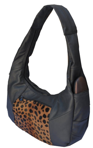Large Top Zip Hobo Geniune Leather Black Color - WholesaleLeatherSupplier.com  - 20