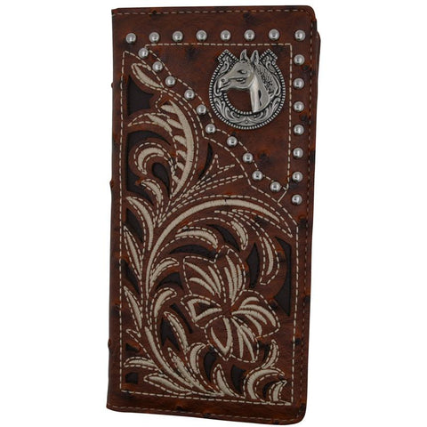 Western Embroidery Credit Card/Chackbook Brown Color Wallet