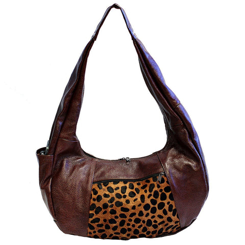 Brown Large Top Zip Hobo Genuine Leather - WholesaleLeatherSupplier.com  - 10