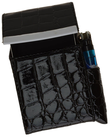 Unisex Croco-Textured Genuine Leather Flip-Top Cigarette Case - WholesaleLeatherSupplier.com  - 3