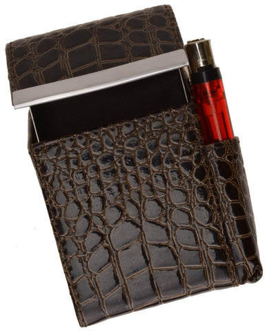 Unisex Croco-Textured Genuine Leather Flip-Top Cigarette Case - WholesaleLeatherSupplier.com  - 8