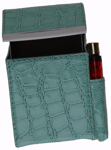 Unisex Croco-Textured Genuine Leather Flip-Top Cigarette Case - WholesaleLeatherSupplier.com  - 7
