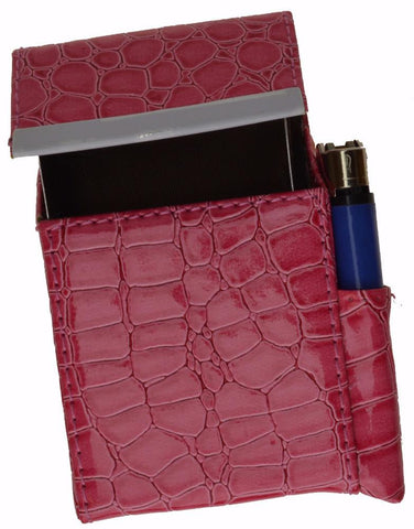 Unisex Croco-Textured Genuine Leather Flip-Top Cigarette Case - WholesaleLeatherSupplier.com  - 9
