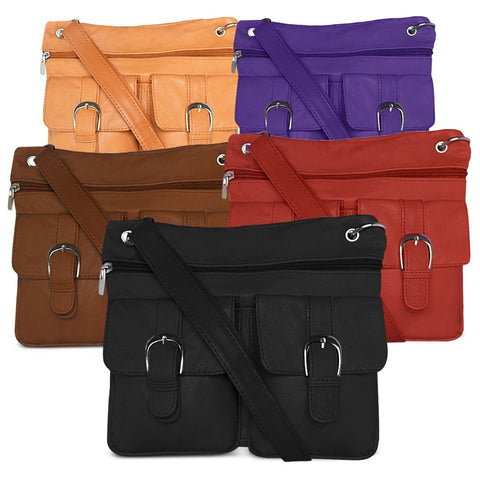 Soft Leather Crossbody Bag Assorted Colors