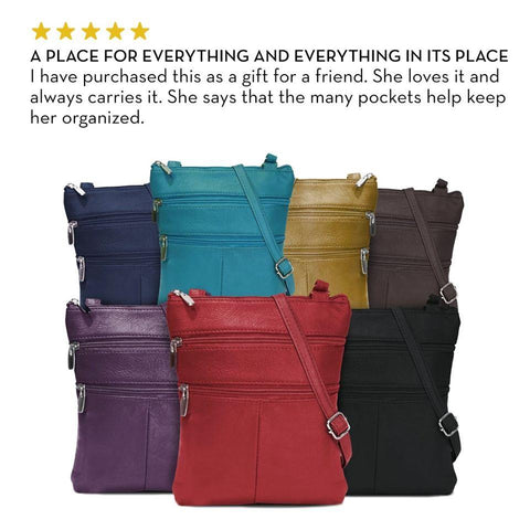 A Soft Genuine Leather Multi-Pocket Crossbody Bag Crossbody WholesaleLeatherSupplier.com Red