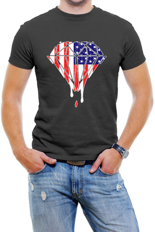 Dripping USA Galaxy Diamond Men T-Shirt Soft Cotton Short Sleeve Tee