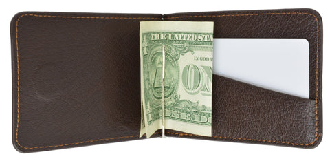 Men's Genuine Leather Bi-Fold Money Clip Wallet