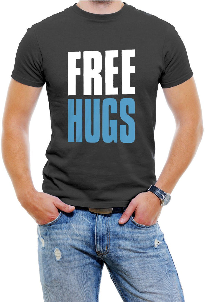AFONiE FREE HUGS Mens T-shirt, Big and Bold Funny Statements Tee Shirt