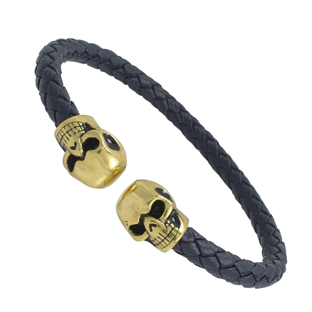 Gold PVD Skulls Navy Blue Leather Bracelet