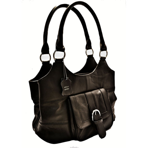 Genuine Leather 3 Compartments Ladies Handbag - Brown - WholesaleLeatherSupplier.com  - 6