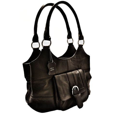 Genuine Leather 3 Compartments Ladies Handbag - Black - WholesaleLeatherSupplier.com  - 1
