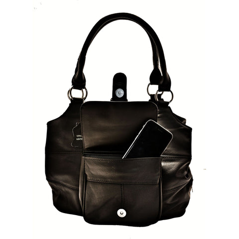 Genuine Leather 3 Compartments Ladies Handbag - Black - WholesaleLeatherSupplier.com  - 2