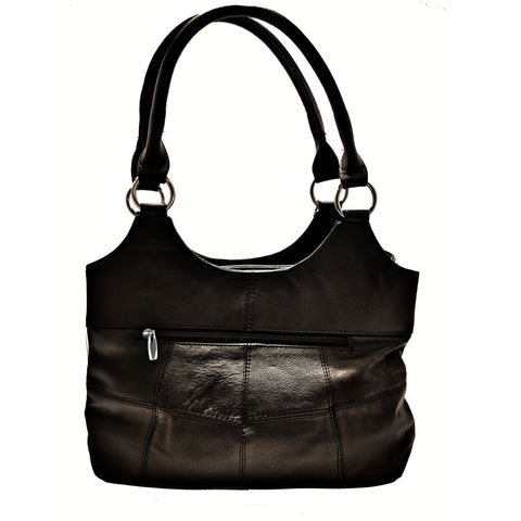 Genuine Leather 3 Compartments Ladies Handbag - Black - WholesaleLeatherSupplier.com  - 4
