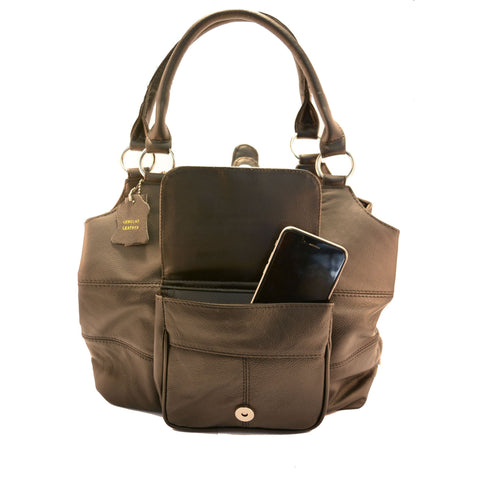 Genuine Leather 3 Compartments Ladies Handbag - Brown - WholesaleLeatherSupplier.com  - 2