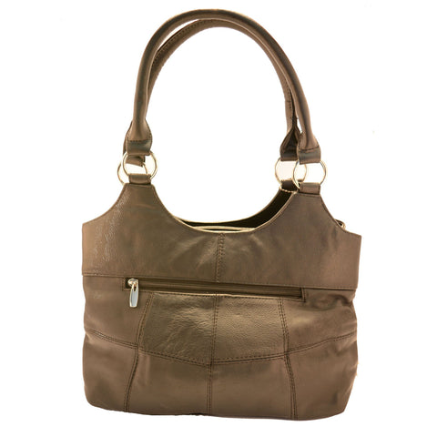 Genuine Leather 3 Compartments Ladies Handbag - Brown