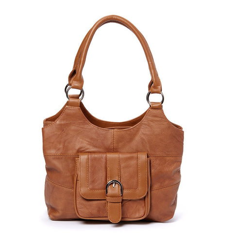 Genuine Leather 3 Compartments Ladies Handbag - Brown - WholesaleLeatherSupplier.com  - 12