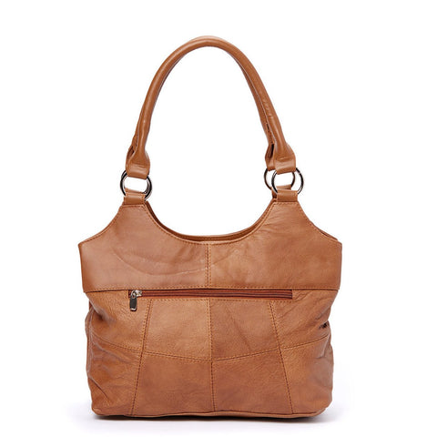 Genuine Leather 3 Compartments Ladies Handbag - Brown - WholesaleLeatherSupplier.com  - 13