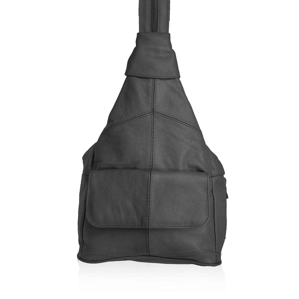 Genuine Leather Sling Style Backpack - Black Color