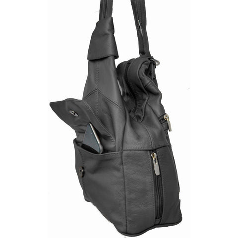 Deluxe Soft Leather Backpack Sling Style - Black Color - WholesaleLeatherSupplier.com  - 2
