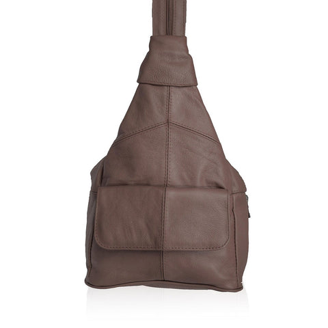 Genuine Leather Sling Style Backpack - Brown Color