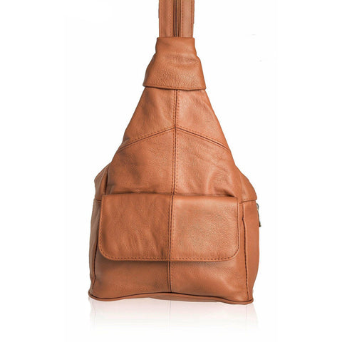 Deluxe Soft Leather Backpack Sling Style - Brown Tan