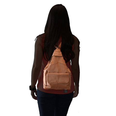 Genuine Leather Sling Style Backpack - Tan Color
