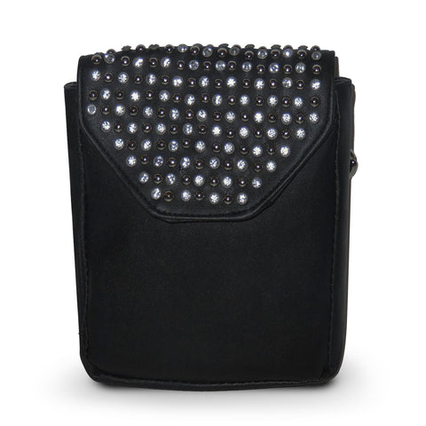 Leather Studded Clip Pouch w/Detachable Strap