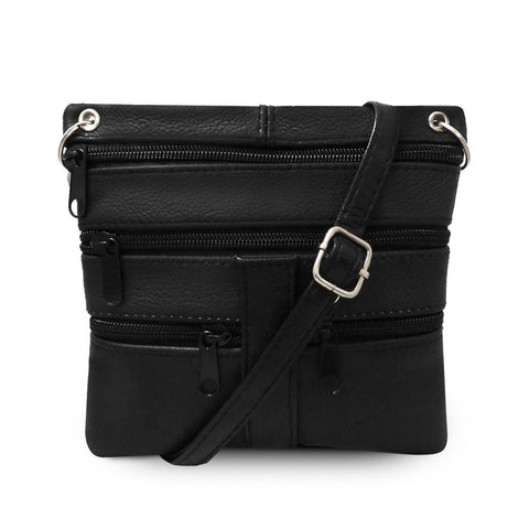 Multi Pocket Leather Crossbody Handbag