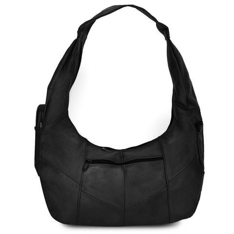 Black Large Top Zip Hobo Genuine Leather