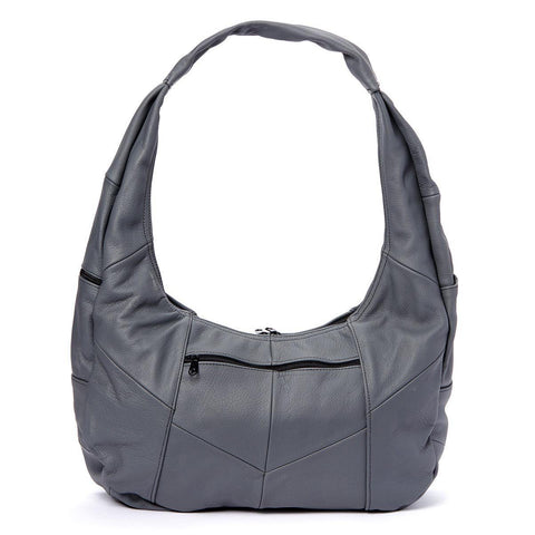 Grey Large Top Zip Hobo Genuine Leather