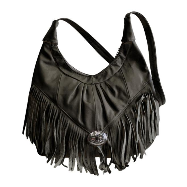 Fringe Hobo Bag - Soft Genuine Leather Black Color