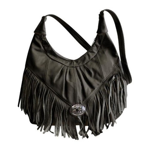 Fringe Hobo Bag - Light Soft Genuine Leather Beige Color - WholesaleLeatherSupplier.com  - 6