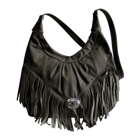 AFONiE Fringe Hobo Bag - Soft Genuine Leather Black Color