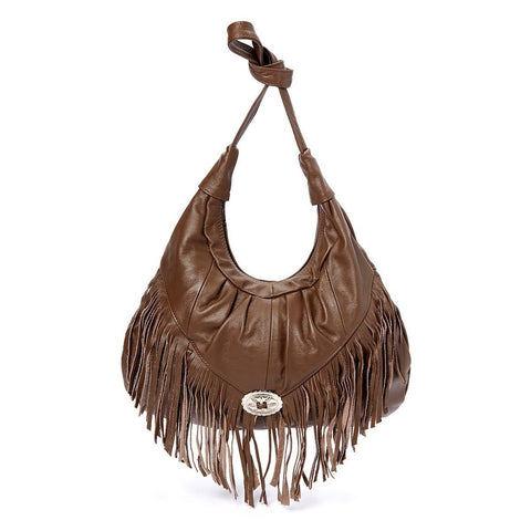 Fringe Hobo Bag - Light Soft Genuine Leather Beige Color