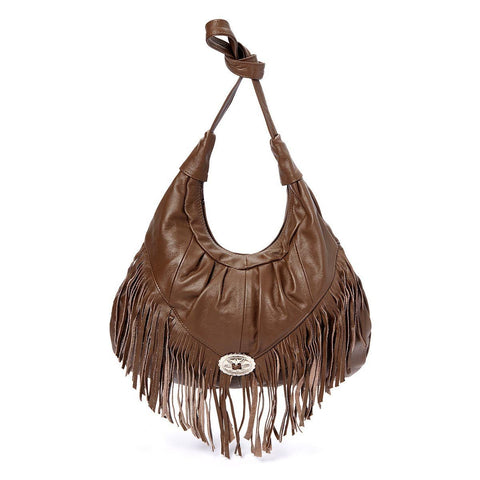 Fringe Hobo Bag - Soft Genuine Leather Brown Color - WholesaleLeatherSupplier.com  - 7